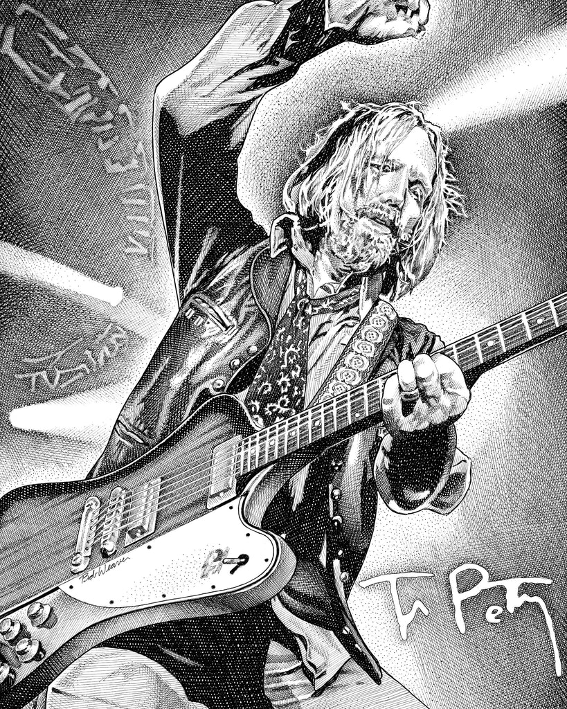 Tom Petty Rock Music Artist Bob Weaver pen and ink drawing wall art gift for dad canvas wrap giclee print
