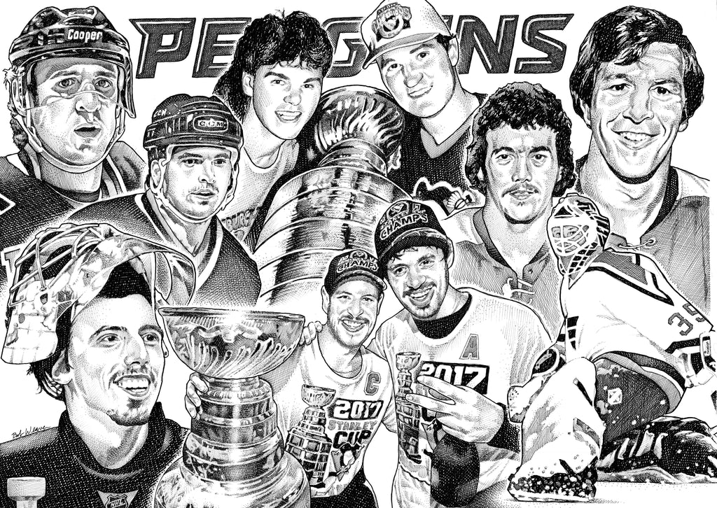 Pens Pittsburgh Penguins NHL Hockey top ten artist Bob Weaver pen and ink drawing mancave man cave art gift dad