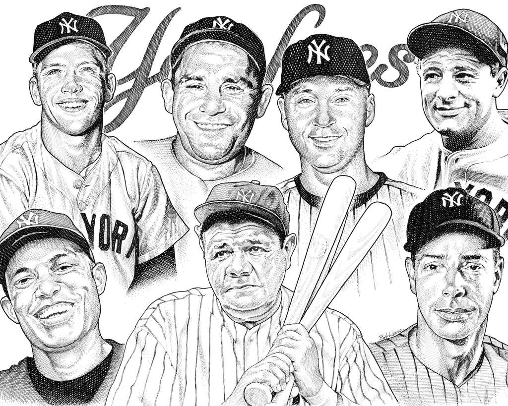 New York Yankees NY Artist Bob Weaver pen and ink drawing mancave man cave wall art gift for dad Mickey Mantle Yogi Berra Derek Jeter Lou Gehrig Babe Ruth