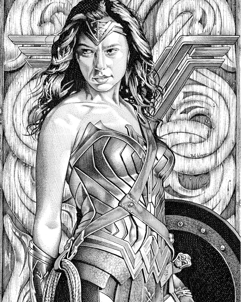 Gal Gadot Wonder Woman Artist Bob Weaver pen and ink drawing wall art canvas wrap giclee print