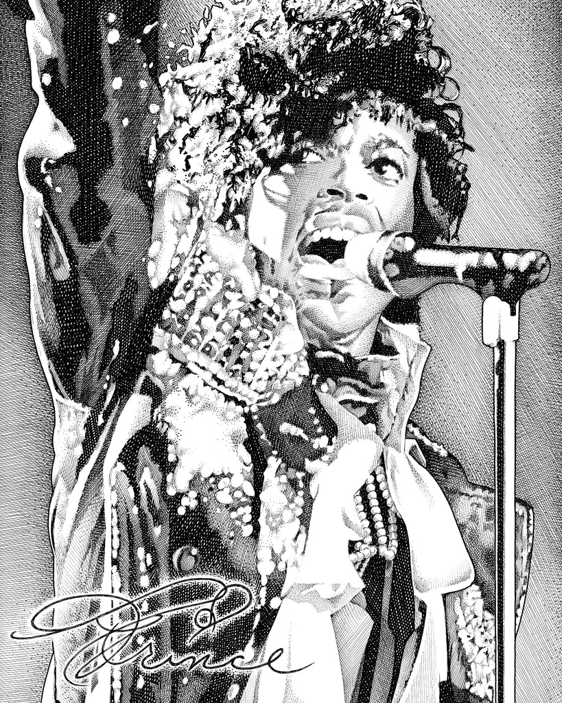 Prince | The artist formerly known as roger nelson Artist Bob Weaver pen and ink drawing wall art canvas wrap giclee