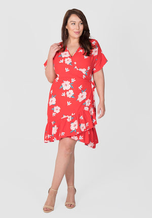 Flounce Wrap Dress - Paper Floral