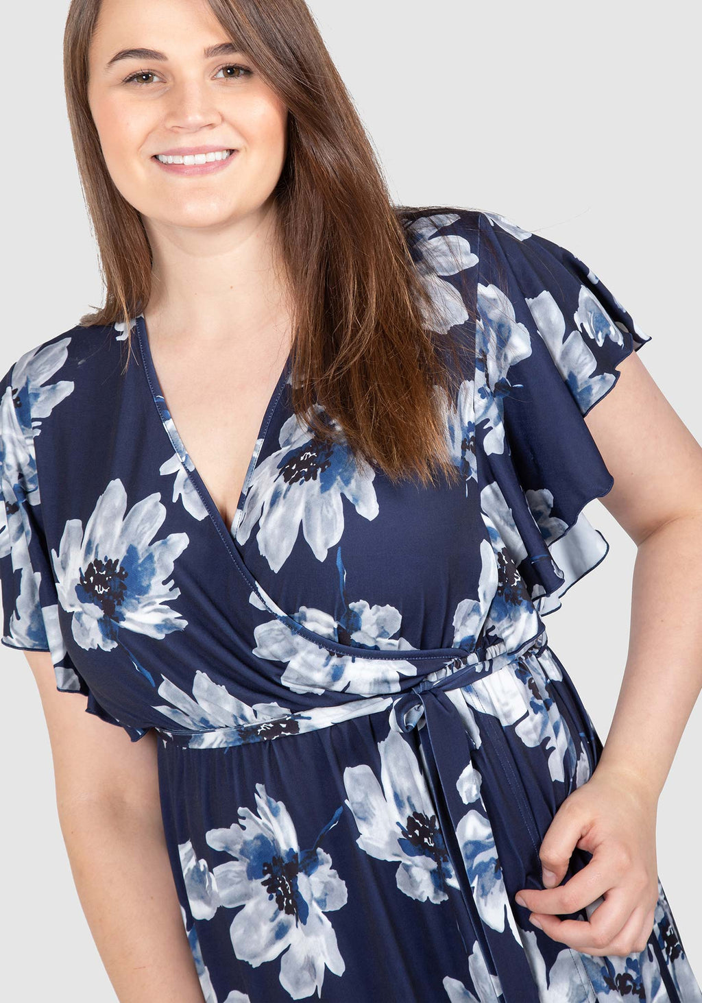 Florence Floral Knit Wrap Knit Dress - Navy floral print