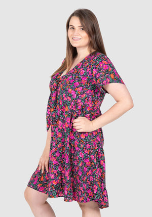 Teagan Tiered Volume Dress - Floral Print