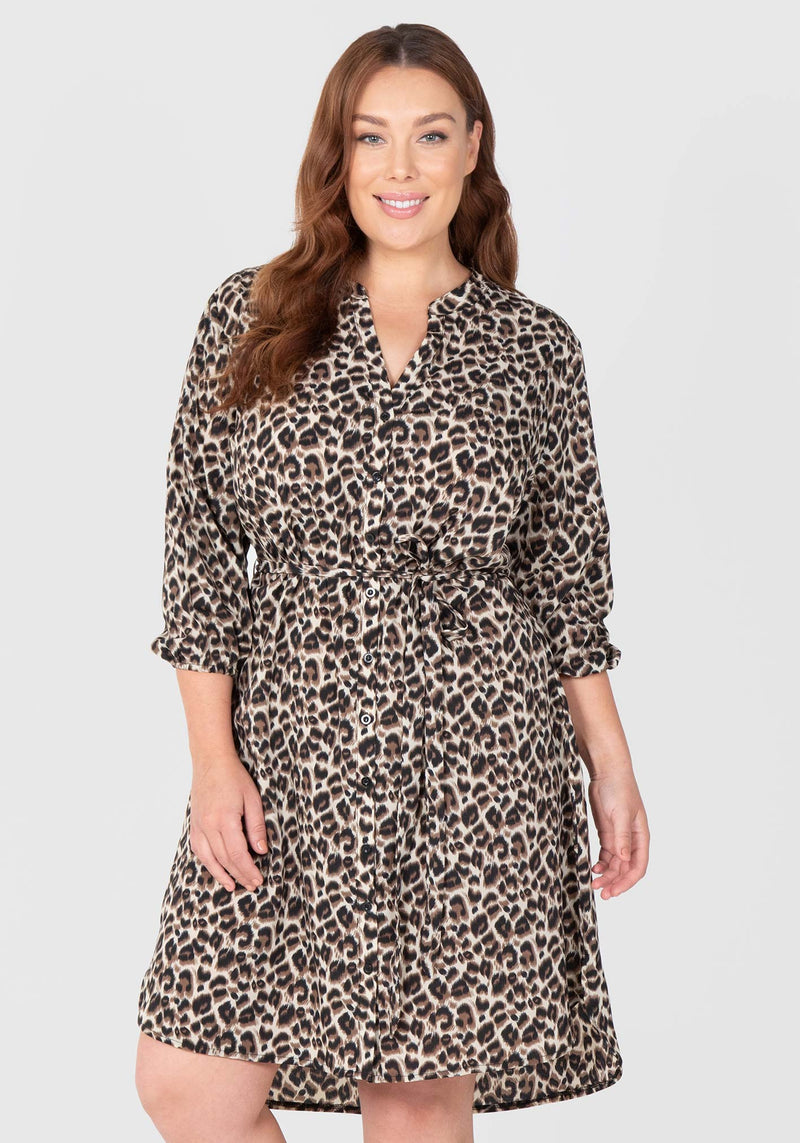 Animal Print Shirtdress - Animal
