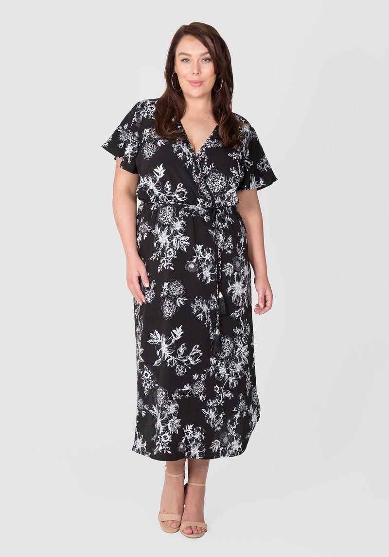 Cape Sleeve Maxi Dress - Tropical Monotone