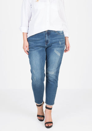 Distressed Jean - Deep Indigo denim