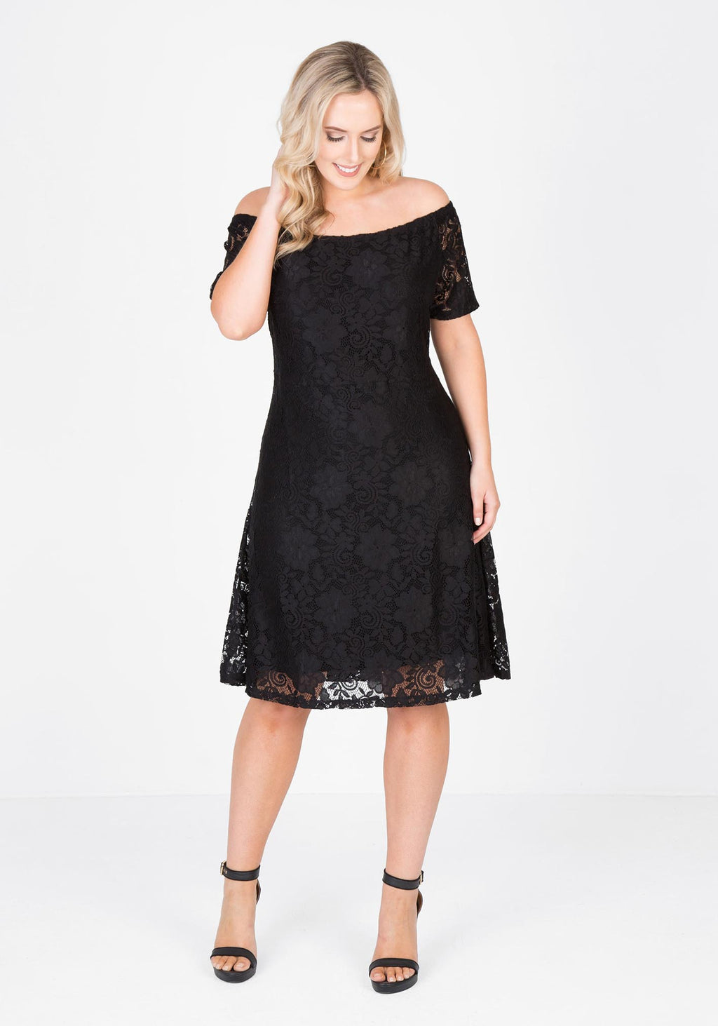 Off the shoulder stretch lace dress - Black