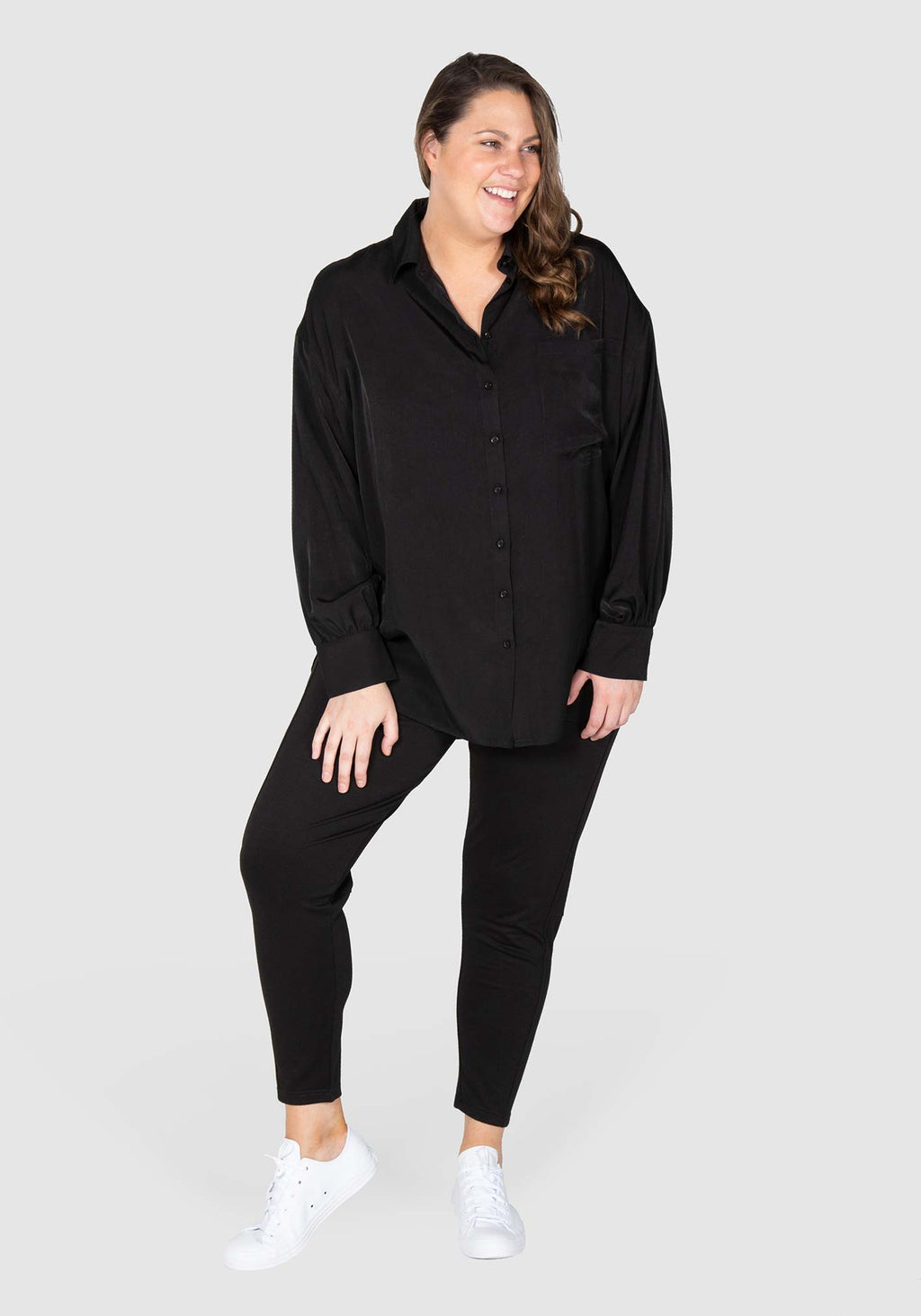 Phoebe Peached Over-shirt  - Black
