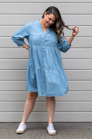 Ellison Chambray Tiered Dress - Indigo