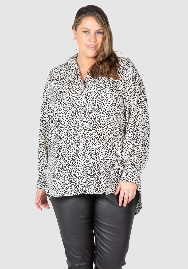 Elsa Animal Print Over-shirt - Monotone Animal Print
