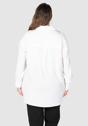 Phoebe Peached Over-shirt  - White