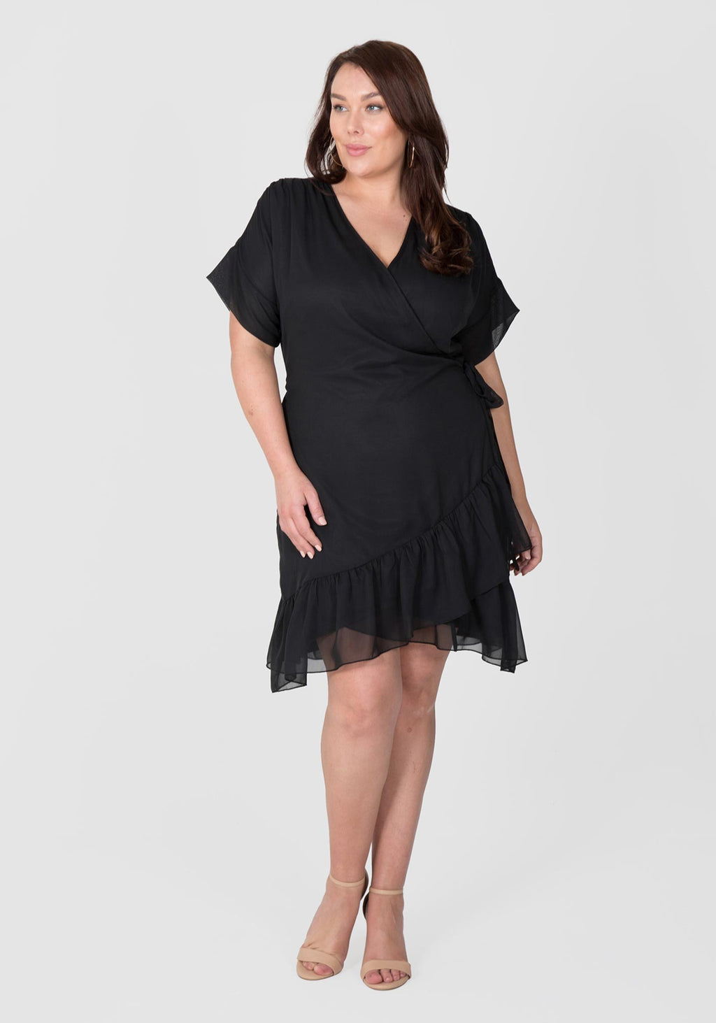 Flounce Wrap Dress - Black