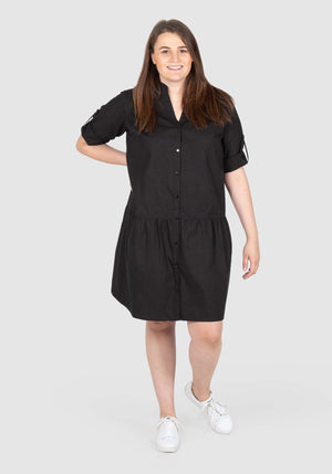 Maddison Drop Waist Shirt Dress - Black