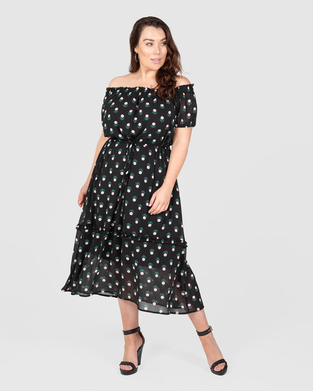 Off The Shoulder Maxi Dress - Confetti Print