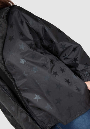 Oh My Stars Raincoat - Black on Black Star