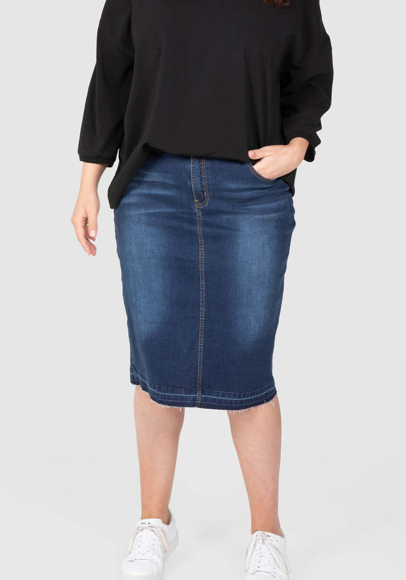 L.A. Stretch Denim Skirt - Dark Indigo
