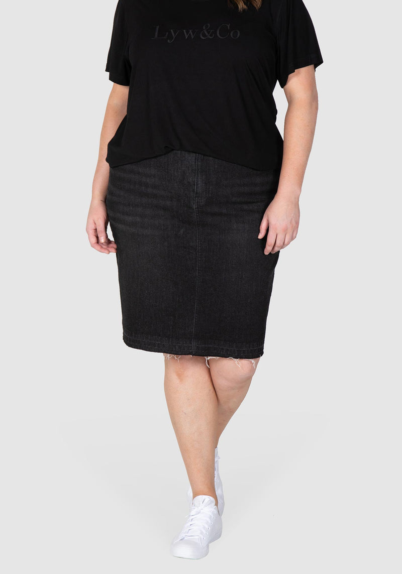 Harlee Stretch Denim Skirt - Black