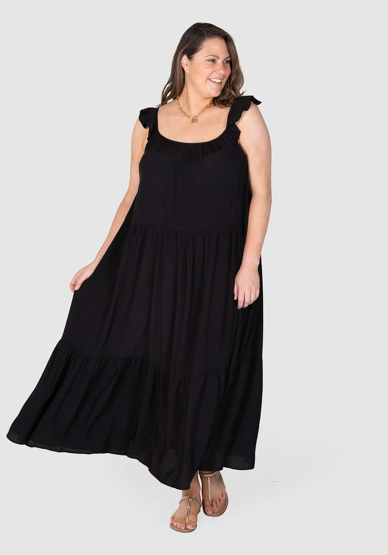 Jaslyn High Volume Dress - Black