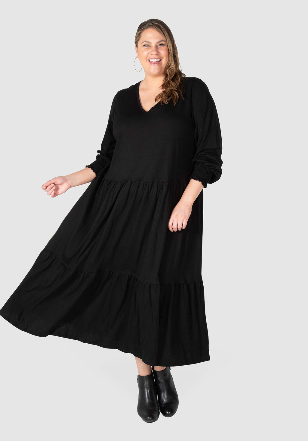 Maya Knit Tiered Maxi Dress  - Black