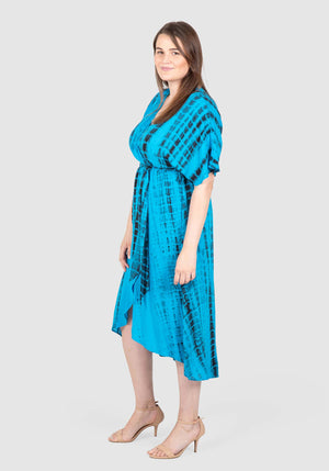 Alyce Tie Dye Maxi Dress - BLUES TIE DYE PRINT