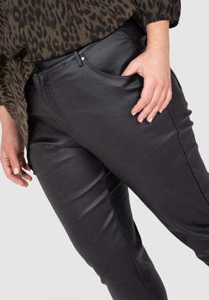 Wet Look Stretch Jean - Black