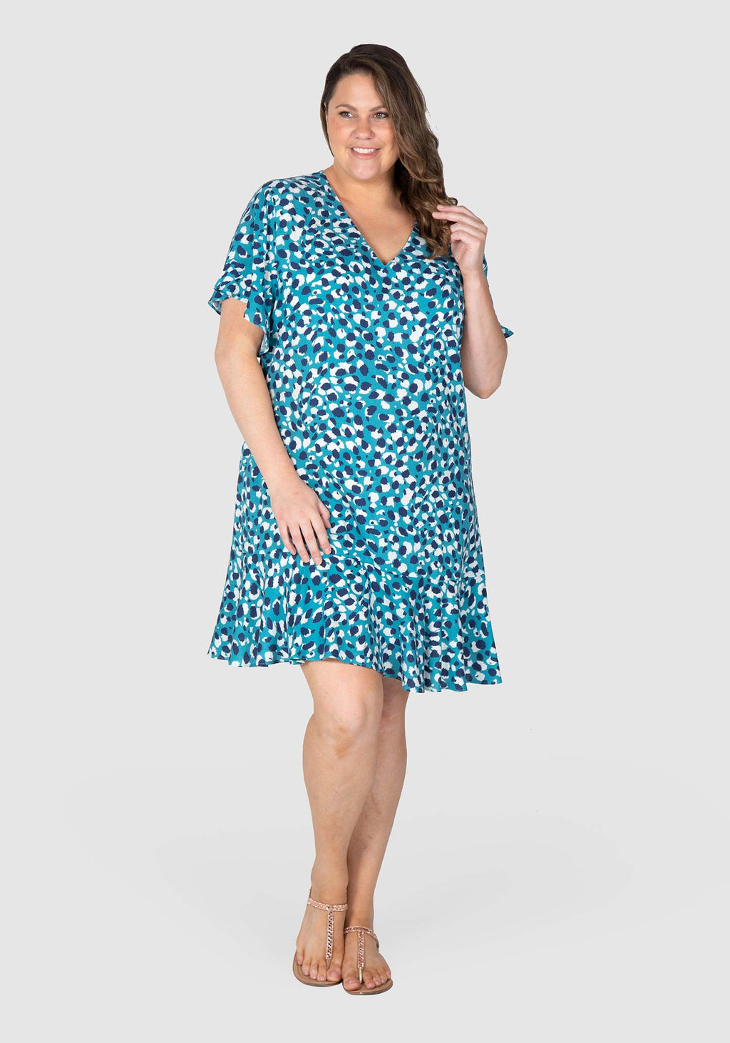 Tilly Flounce Print Dress - Wild Blues