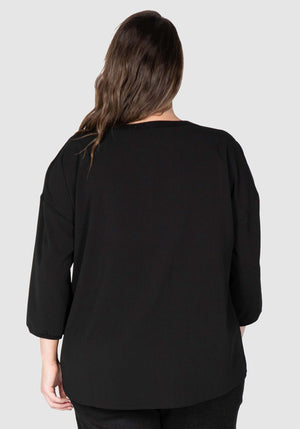 Willow Woven Tee Top - Black