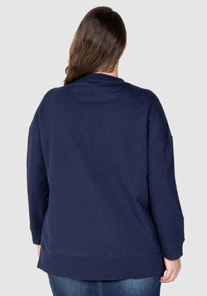 LYW & Co Embossed Sweat - Navy
