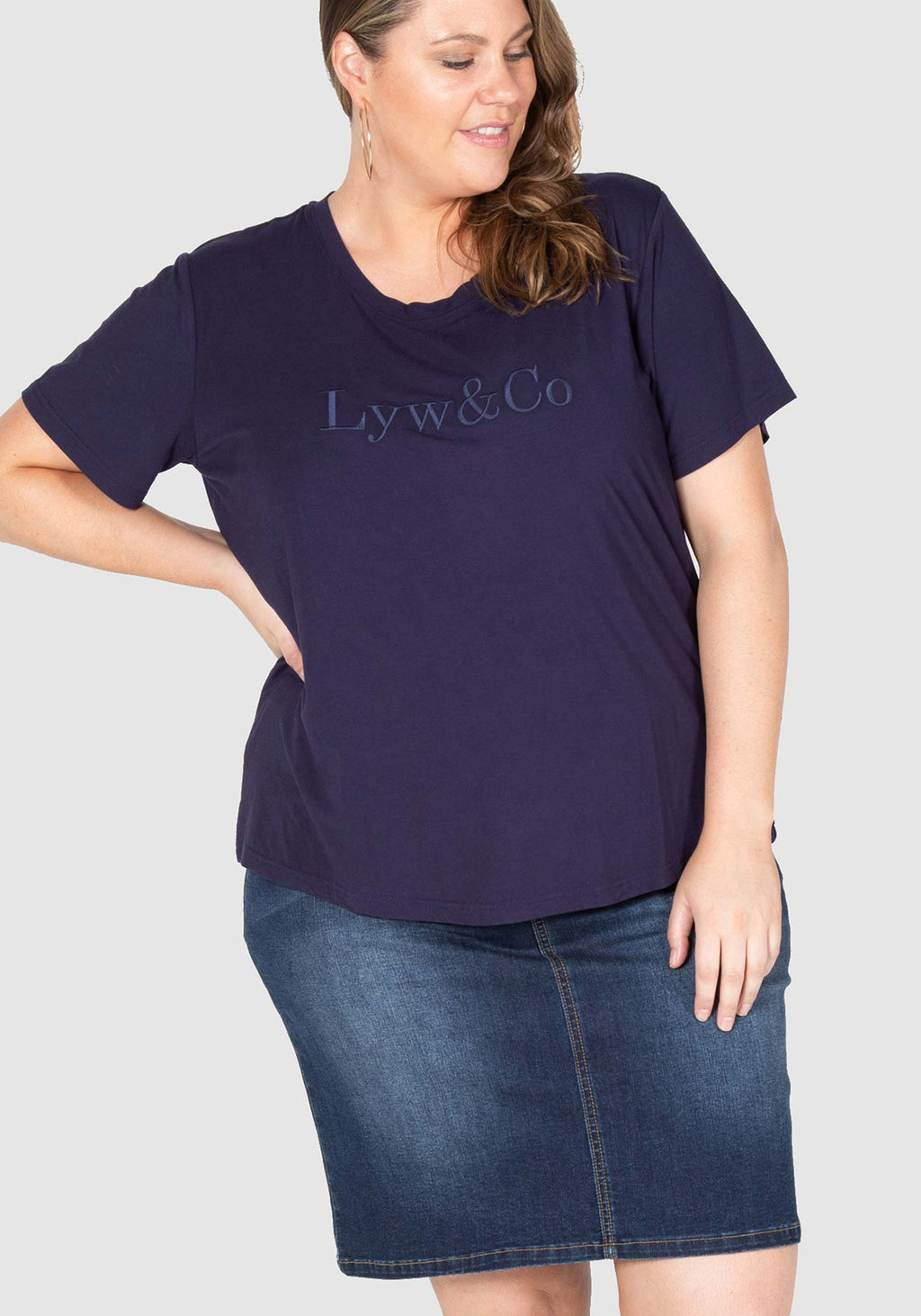 Embroidered LYW & Co Tee - Navy