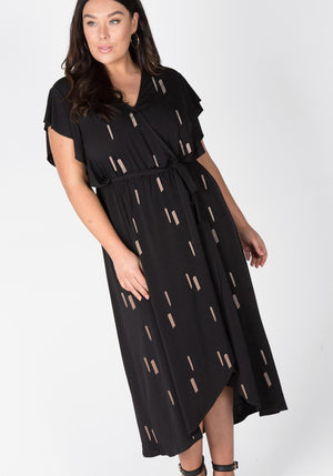 Knit Print Maxi Dress - Black/Rose Gold