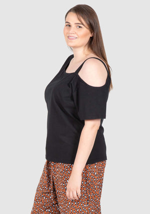 Asymetrical One Shoulder Tee - Black