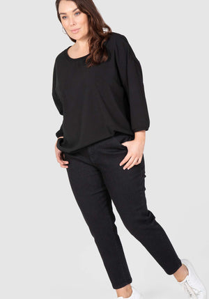 Ankle Grazer Stretch Black Jean - Black