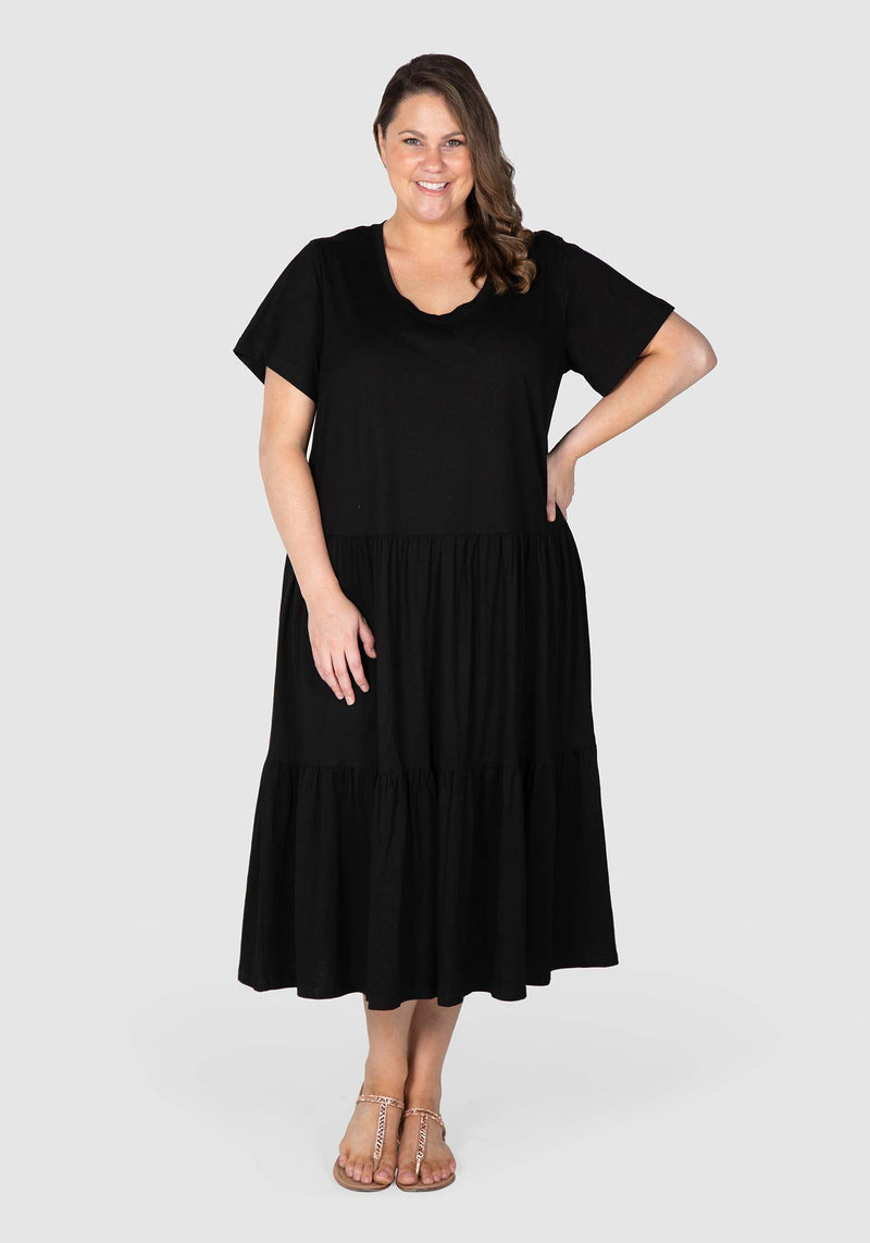 Lana Knit Tiered Dress - Black