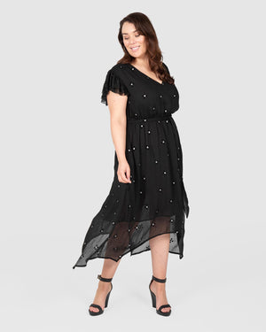 Jagged Hem Dress - Black Diamond