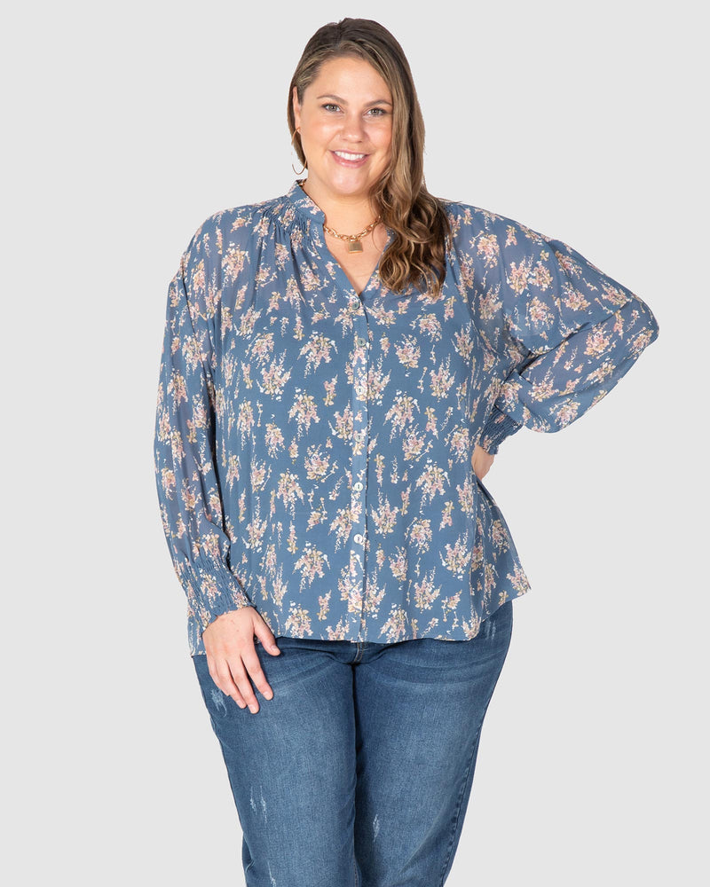 Lilly Shirred Boho Blouse - Indigo blossom