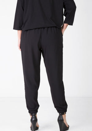 Flat front relaxed pant - Black