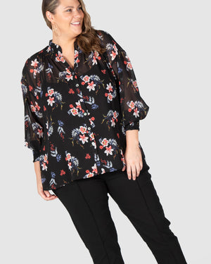 Lilly Shirred Boho Blouse - Black Botanical