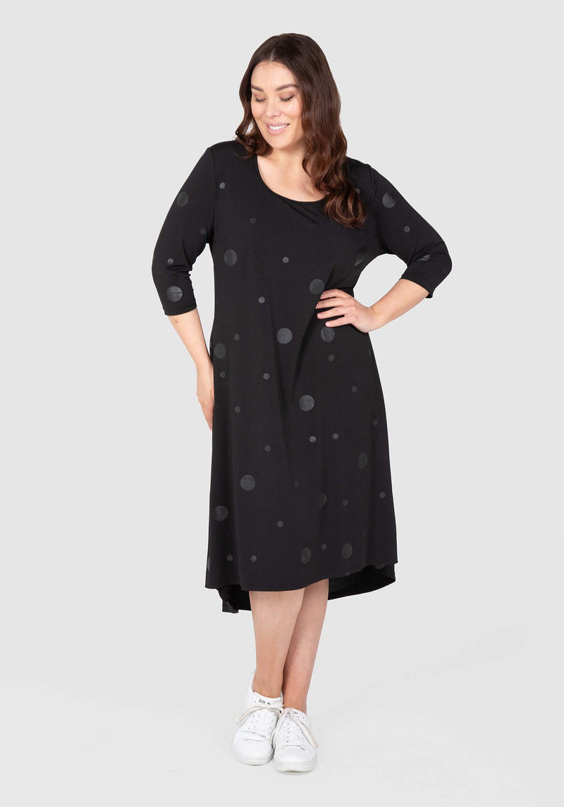 Self Spot Swing Dress - Black / Black