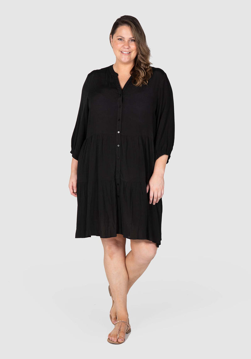 Liza Tiered Dress - Black