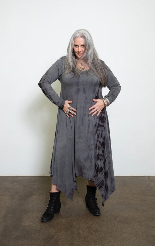 Wave Dress w Long Sleeves - Shibori