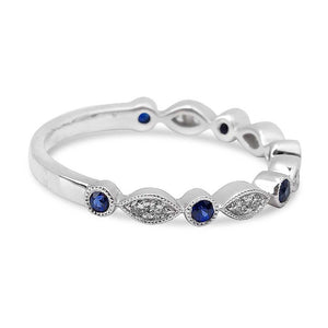 DIAMOND AND SAPPHIRE STACKING RING