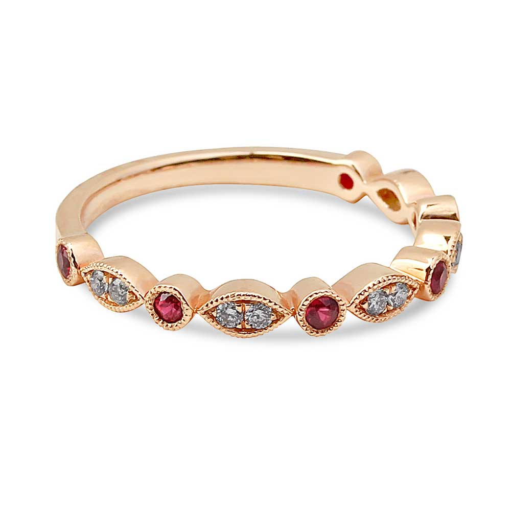 HALF DIAMOND AND RUBY RING