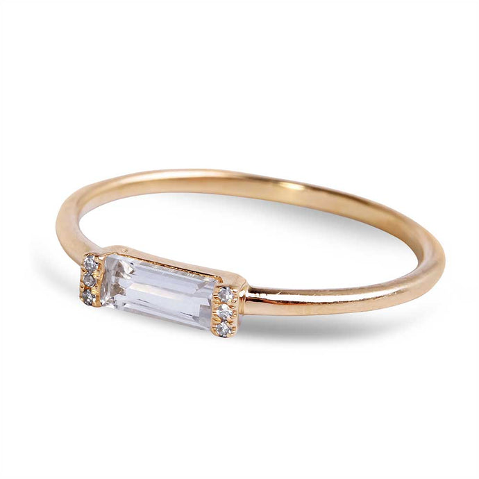 TOPAZ RING WITH DIAMOND PAVE SIDES