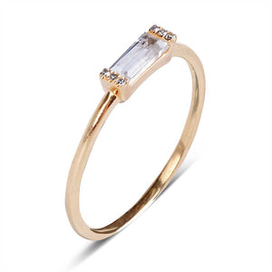 IN STOCK - YELLOW GOLD DIAMOND AND BAGUETTE TOPAZ RING SIZE 7