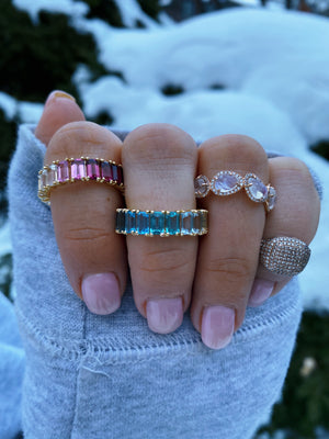 BLUE AND PINK OMBRE EMERALD CUT ETERNITY BAND WITH MOONSTONE BAND AND PAVE DIAMOND SIGNET RING