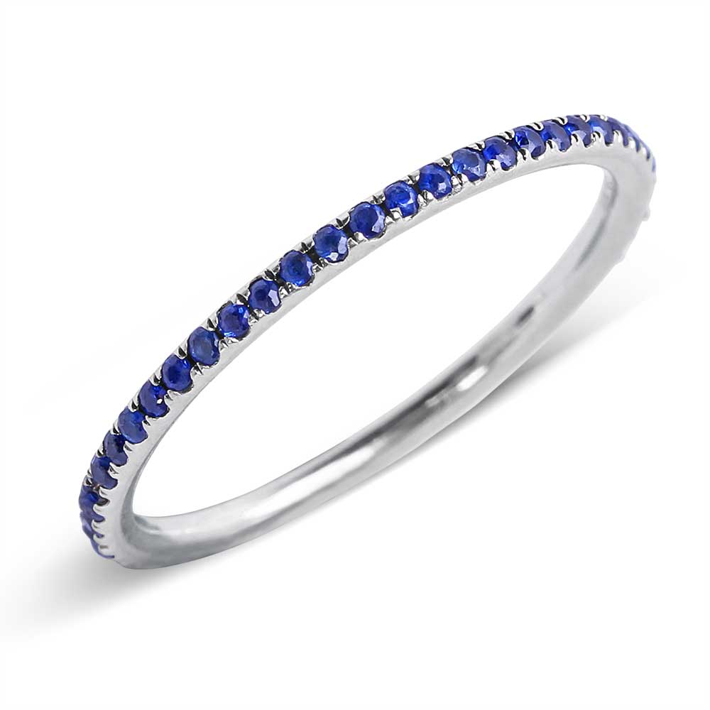 IN STOCK - THIN BLUE SAPPHIRE ETERNITY BAND SIZE 7