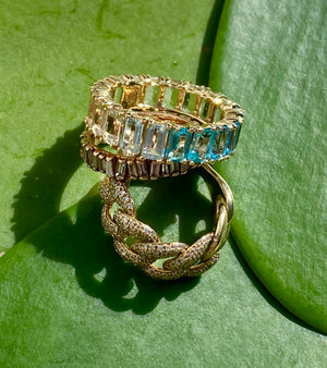 BLUE TOPAZ OMBRÉ EMERALD CUT ETERNITY BAND