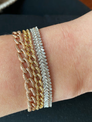 IN STOCK - BAGUETTE DIAMOND HERRINGBONE BRACELET