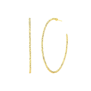 "14K YELLOW GOLD DISCO HOOPS (2"")"